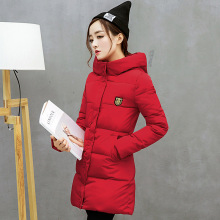 Winter Women's Clothing new Long section Large size Slim Was thin Solid color Cotton clothing Parkas jacket