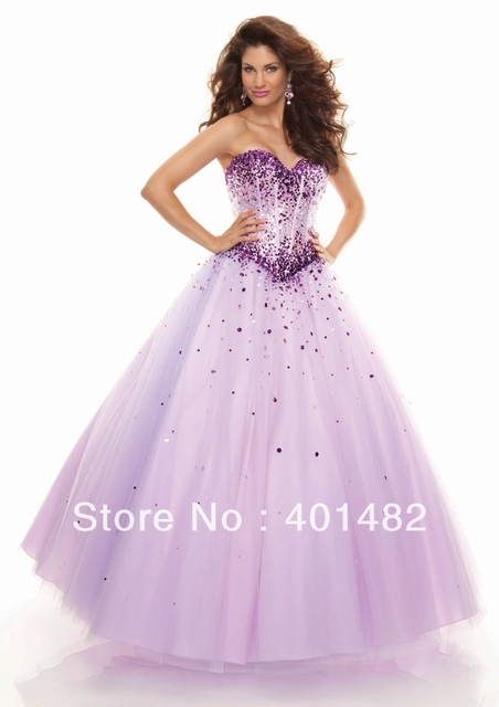 Freeshipping New Arrival Strapless Ball Gown Sweetheart Neckline Sequined  Light Purple Prom Dresses 8a19e95385de