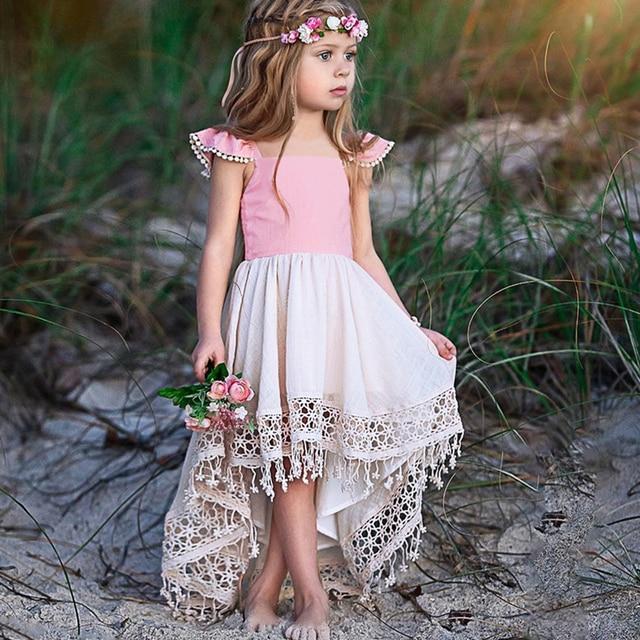 KAVKAS Summer Sleeveless Pink Lace princess dress