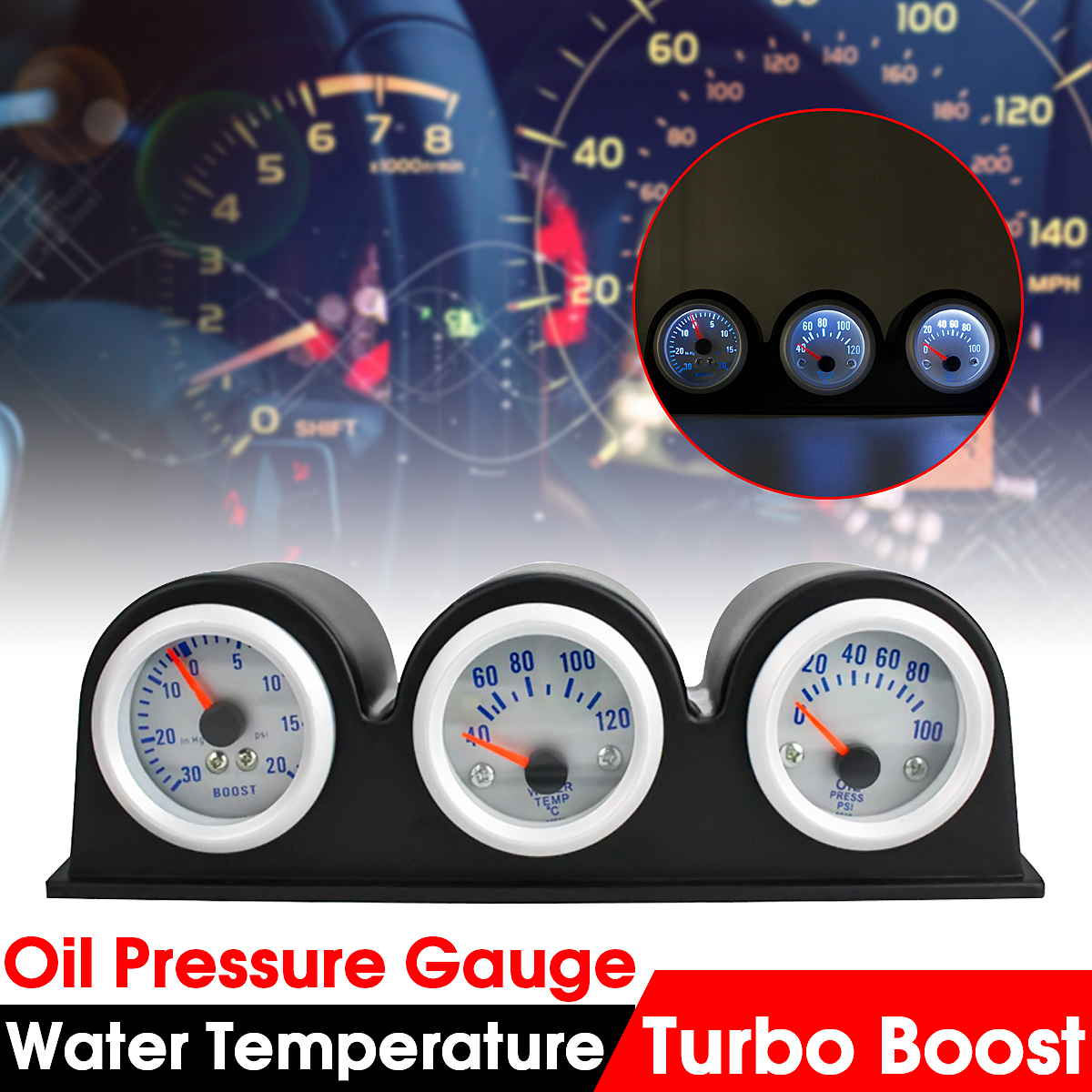 3in1 Car Led Triple Gauges Turbo Boost+Water Temperature+Oil Pressure Gauge 2