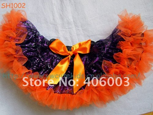 Toddler Fluffy Tutu Petticoat Miss Fancy Pants Orange Pettiskirt Infant Girls Spider Web Halloween Tutu Free Shipping