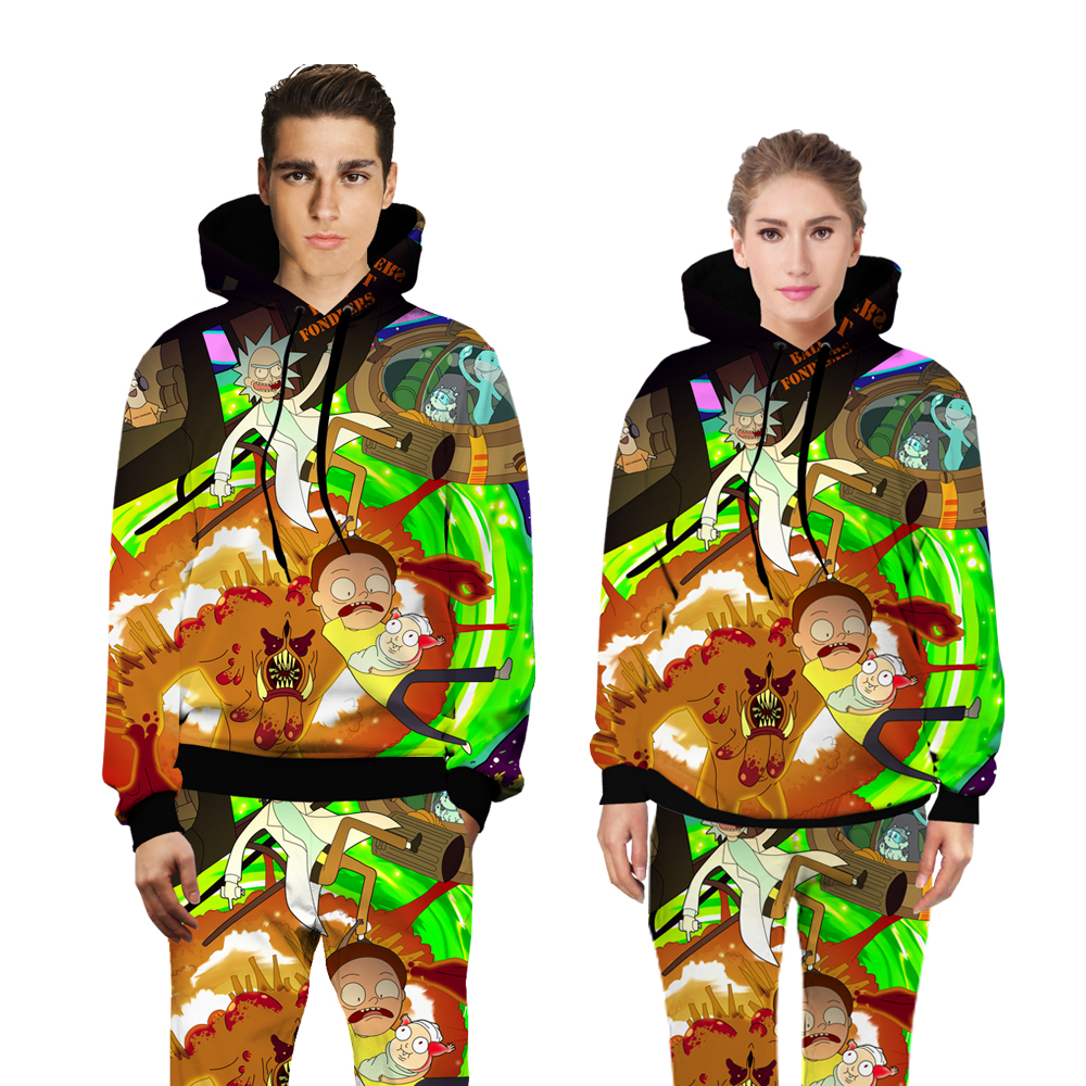 PLstar Cosmos Rick and Morty with monster sweats tracksuit men women winter casual clother 3d hoody&pants 2 pieces size S-XXL