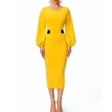 2019 Summer Women O Neck Long Sleeve Bodycon Dress Formal Office Elegant Yellow Long Sleeve Party Dress Slim Midi Dress
