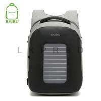 2018 BAIBU Men Backpack Solar Powered Backpack Usb Charging Anti Theft Laptop Backpack for Men Laptop Bagpack Waterproof Bags