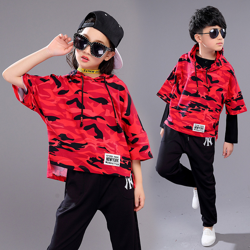 Cotton Red Black Children Girl Boy Drum Kit Hiphop Hip Hop Jazz Modern Dance Suit Costume Hooded Clothes Outfit