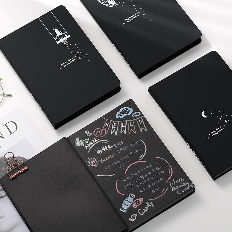Estrela todas as Páginas em Preto Cartão de Capa Dura Caderno Diário  Coreano Preto Conta-Escola suprimentos Notebook Composição Livro De Papel  Preto 376795b3dd7