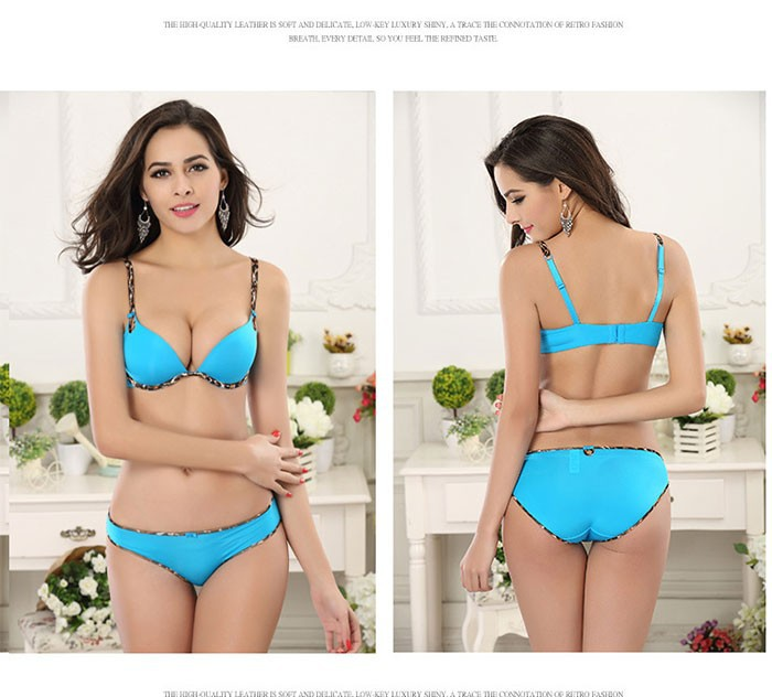 b55a22bc4 Sexy Soft Brief   Smooth Bra Set Women Brand Designer 3 4 Cup Sutia Bras  Push Up Lingerie Set 5 Color Size A~C WI300