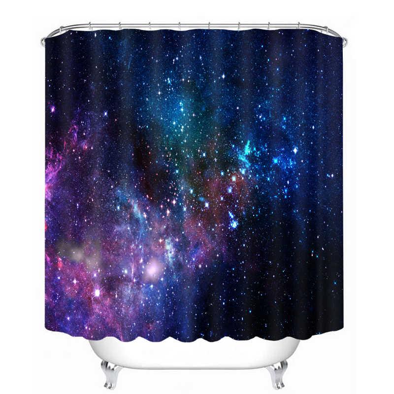 3D الملونة سماء نجمية نمط دش الستائر كرة القدم الحمام ستارة للماء سميكة ستارة حمام للتخصيص