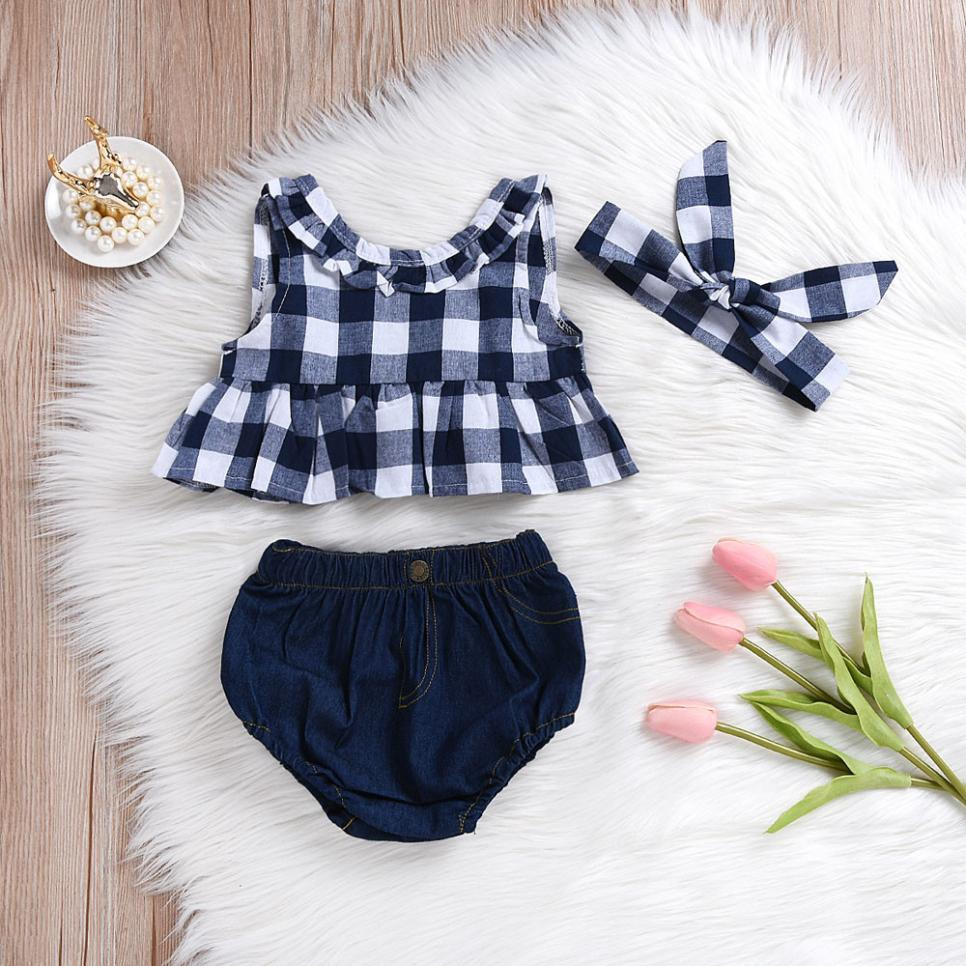 Children Summer New Born Baby Toddler Baby Girl Summer Plaid Skirted T-shirt Tops+Denim Shorts Clothes Set Patchwork