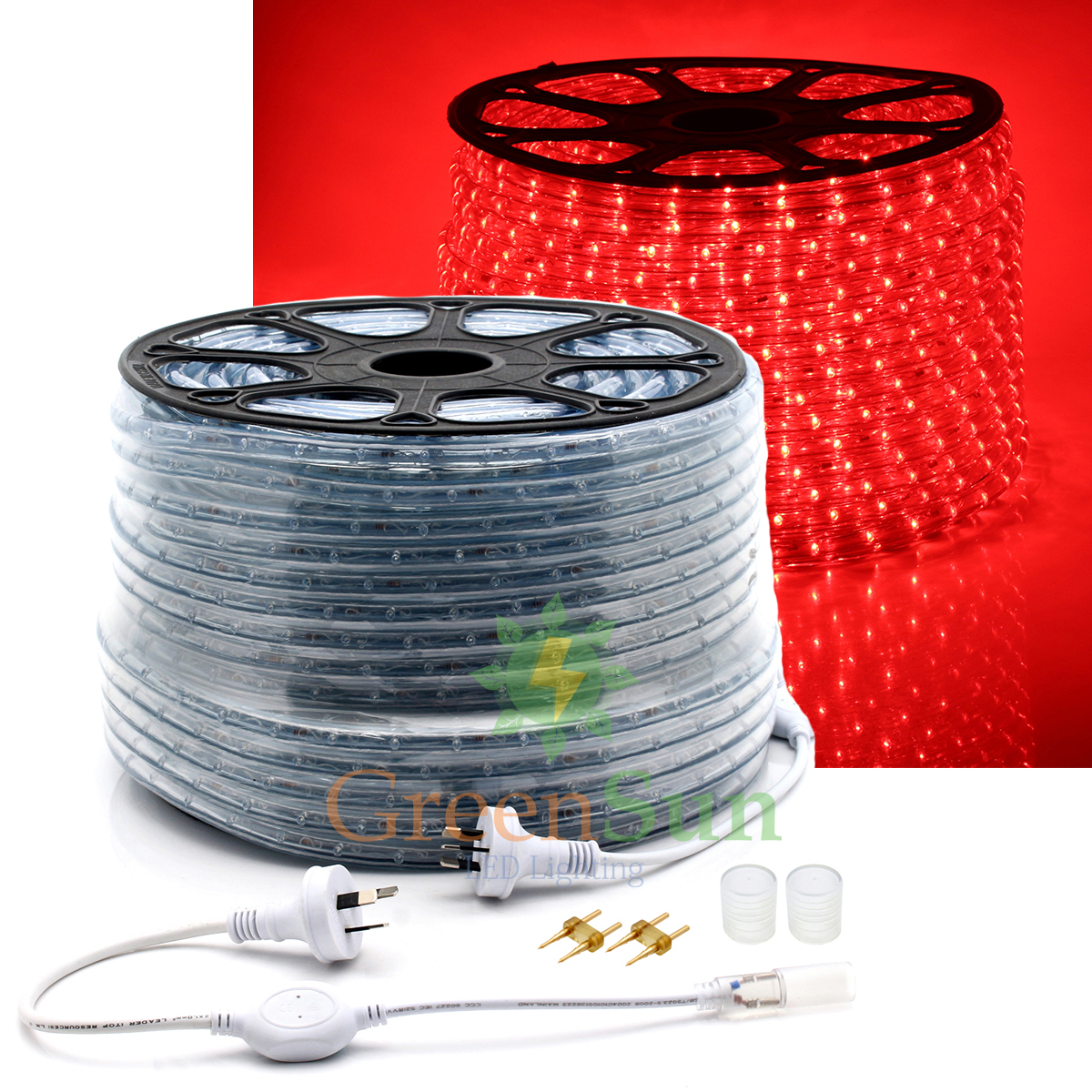 Red 20-50M M36 leds/m 2-Wire LED Strip Rope Light Waterproof IP68 Home Garden Xmas Lamp LED Strip Light With Power line 0 9m smd 3528 90 leds waterproof led rope light festival lighting