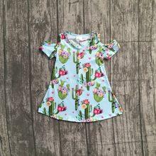 d97e181ca94d Nova luz azul nua off ombro vestido de bebê da flor do Cacto meninas  crianças desgaste do Verão na altura do joelho roupa roupas.