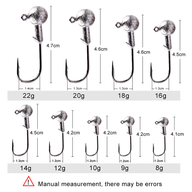 MEREDITH 10pcs/Lot Lead Jig Head 1.5g 2g 3.5g 5g 7g 10g 14g Lead Head Hook Jig Bait Fishing Hooks For Soft Lures Fishing Tackle