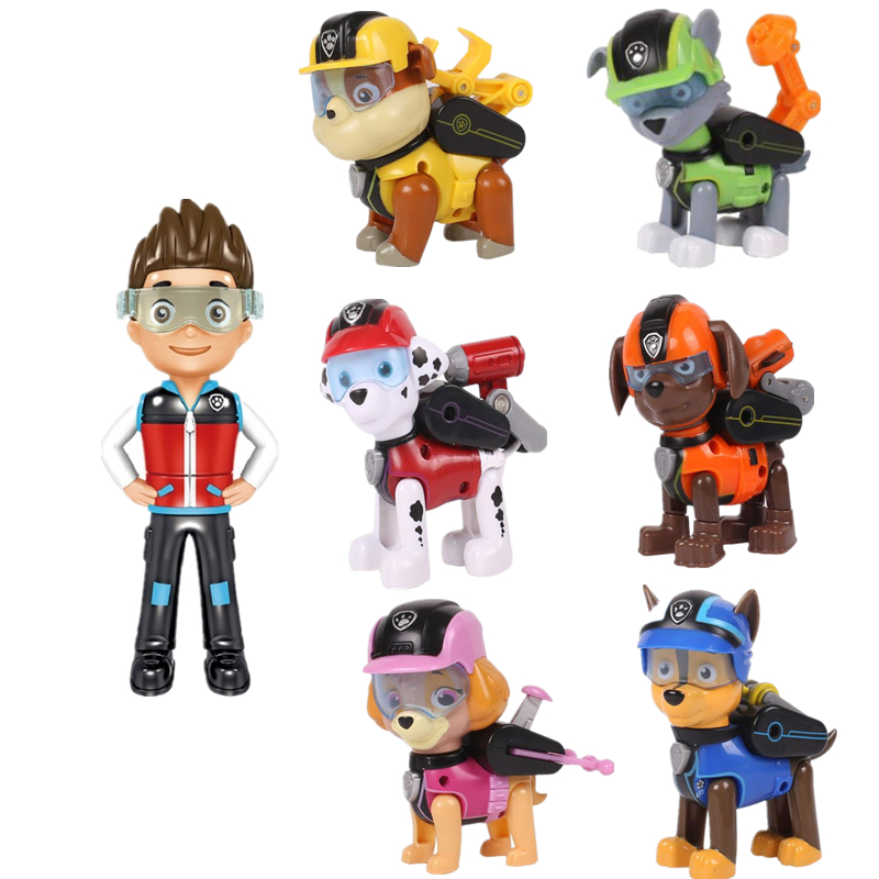 7pcs set Paw Patrol Toys Dog Can Deformation Toy Captain Ryder Pow Patrol Psi Patrol Action