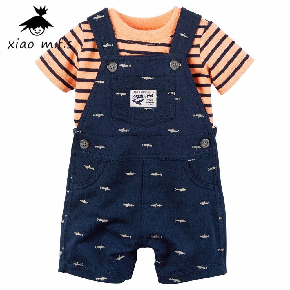 baby clothes boy Sets infant T-Shirt+short overalls 2pcs/set newborn clothes 5 color MFS-4052