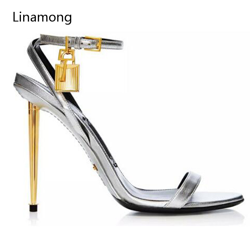 New Style Sexy Women Sandals Metallic Ankle-Lock Sandal Gold Heel Shoes Padlock High Heels Stiletto Fashion Sandal Shoes stiletto metallic ankle strap heels