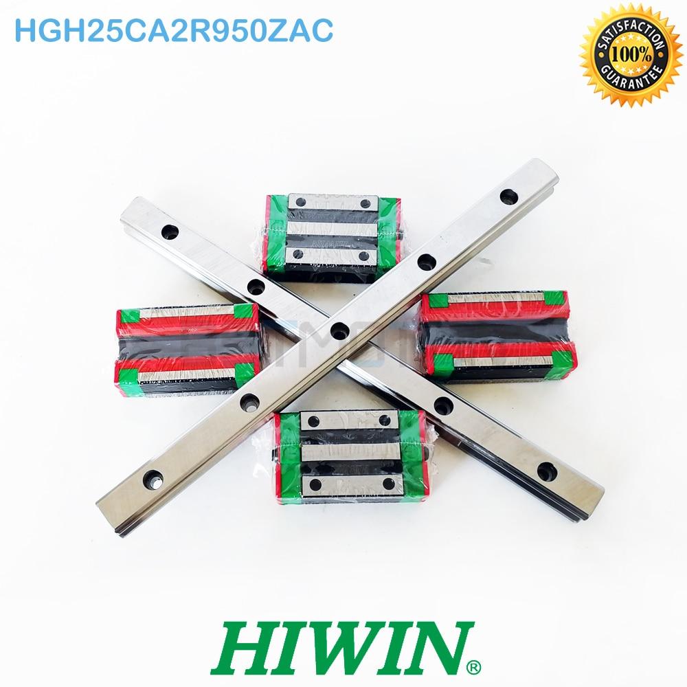 Original HIWIN 25mm HGR25 Linear Guide 2pcs 950mm Rail 4pcs HGH25CA Block Carriage HGH25CA2R950ZAC
