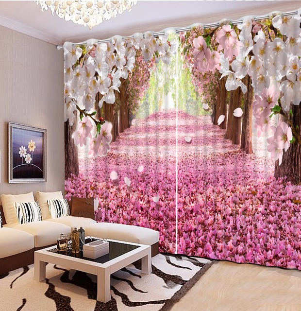 Cherry blossoms Decoration Curtains Blackout 3D Curtain roman Living ...