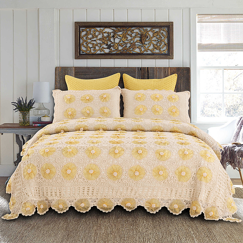 American Countryside Style Bedspread Luxury Lace Edge Hand Crochet Cotton Bedspreads Hand Made Floral Pattern Summer