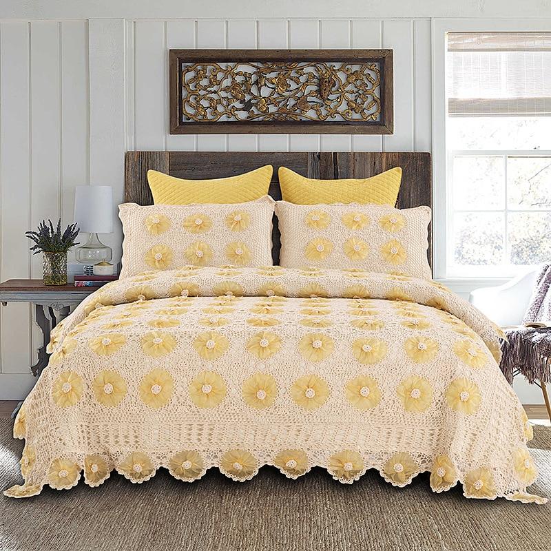 American Style Campagne Couvre-lit De Luxe Dentelle Bord Main Crochet couvre-lits en coton Fait À La Main Motif Floral D'été Couvre-lits