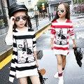 5-16Years Velho Crianças Listrado Hoodies Agradáveis Moda Longas Camisolas Dos Desenhos Animados Primavera/Outono Listrado Camisola Meninas
