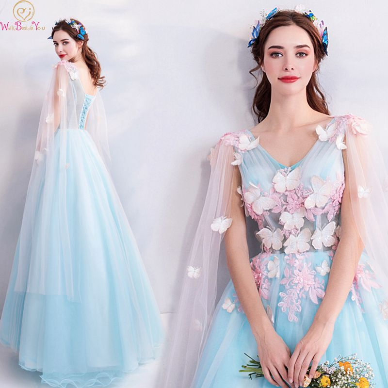 Blue Appliques   Prom     Dresses   Ball Gown Elegant Princess Floor Length Tulle Lace Up V Neck Formal Party Evening Gowns With Shawl