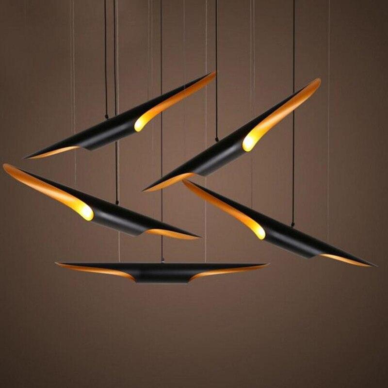 Style de pays Double bouche Oblique en aluminium tuyau pendentif lumières 60 cm bambou forme créative Restaurant Bar café Led lampe suspendue|led hanging lamp|hanging lamp|pipe pendant light -