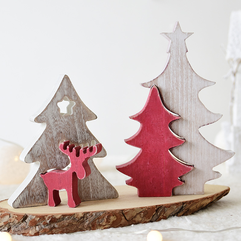 3d diy cartoon wooden christmas tree decoration xmas gift ornament table desk decoration animal snowflakhome party