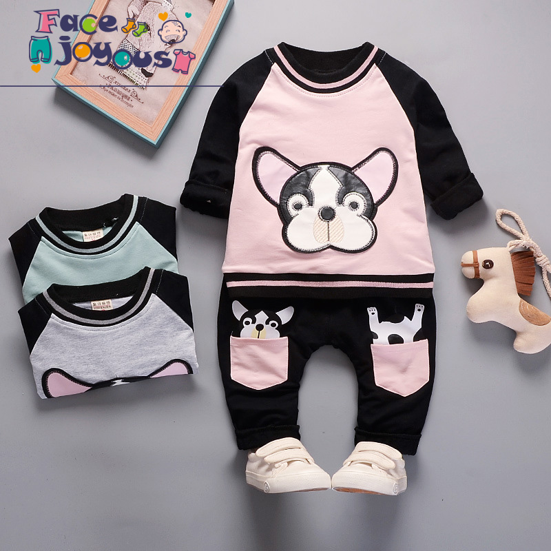 Children's Suit Baby Boy Clothes Set Cotton Long Sleeve Bulldog Pattern Sets For Newborn Baby Girls Outfits Kids Tracksuits children s suit baby boy clothes set cotton long sleeve sets for newborn baby boys outfits baby girl clothing kids suits pajamas