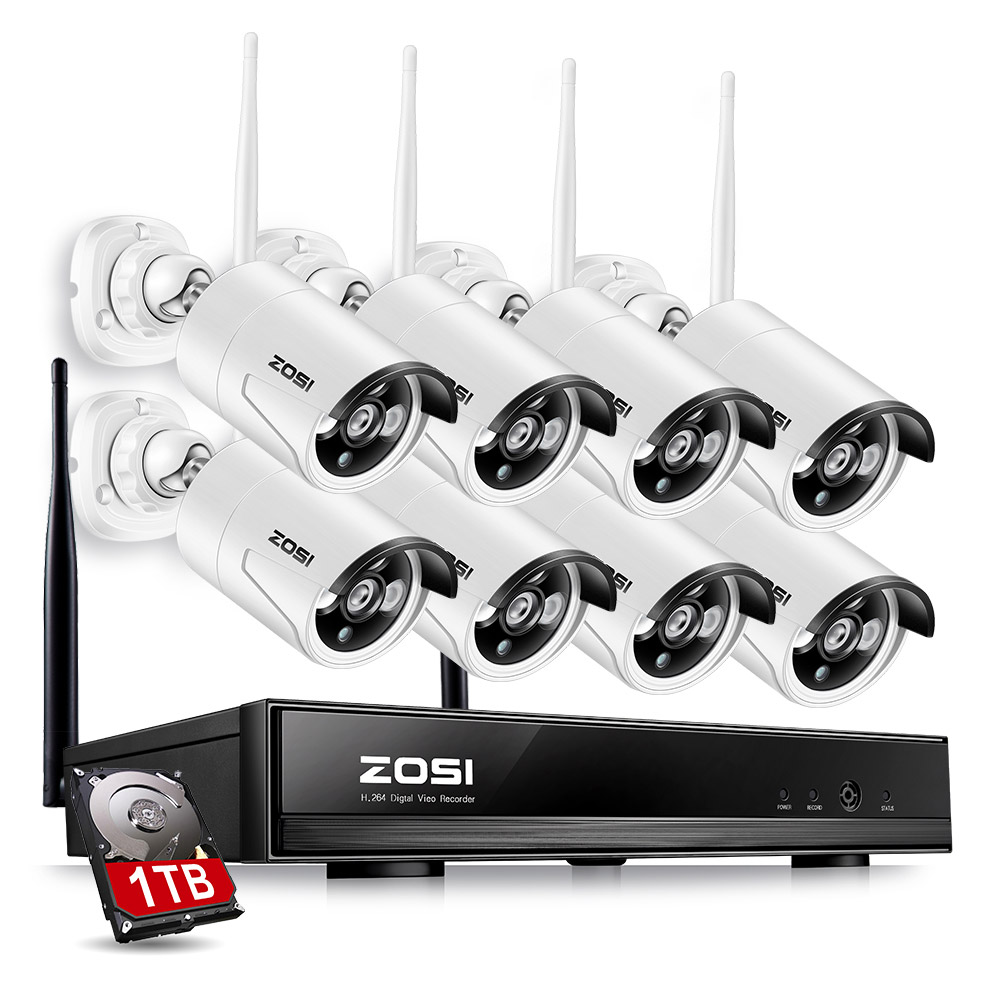 ZOSI 1TB HDD 8CH CCTV System Wireless 1080P HDMI NVR 1 3MP 960P WIFI IP Camera