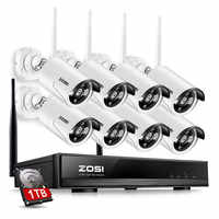 ZOSI 1 TB HDD 8CH CCTV Systeem Draadloze 1080 P HDMI NVR 1.3MP 960 P WIFI IP Camera CCTV Home security System Surveillance Kits