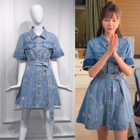 High Quality Runway Denim Summer Dress Women Single Breasted Embroidery Stars Pattern Shirt Dress Casual Sequine Cowboy Dress