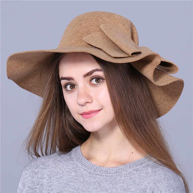 Xthree moda Otoño Vintage lana de ala ancha Fedora sombreros para mujeres sombrero Bowler Floppy otoño señoras gorra