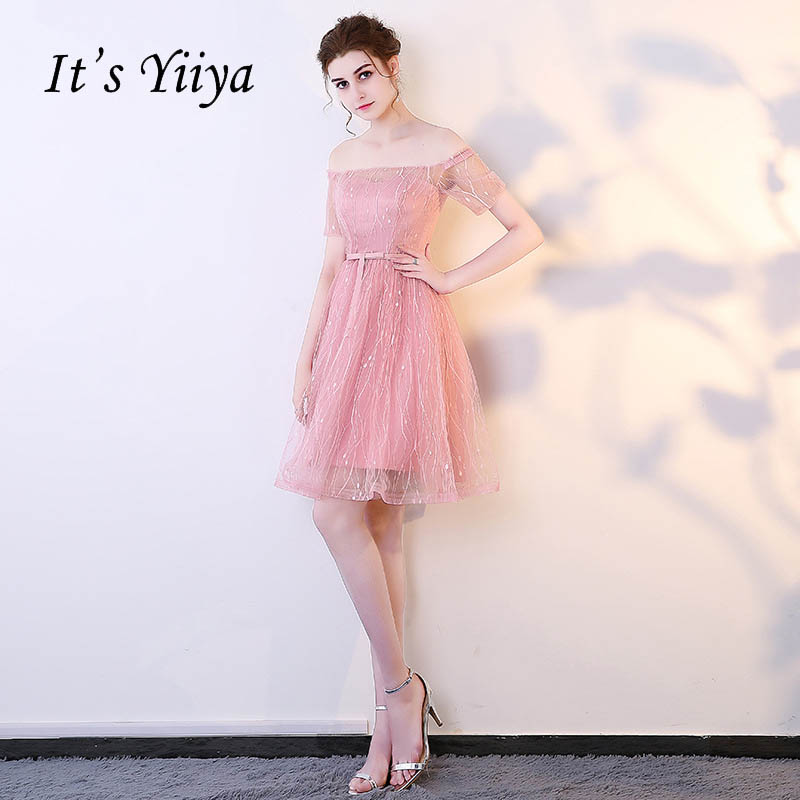 It's YiiYa New Pink Illusion Short Sleeve Off The Shoulder Lace   Cocktail     Dress   Knee Length Formal   Dress   Party Gown LX154