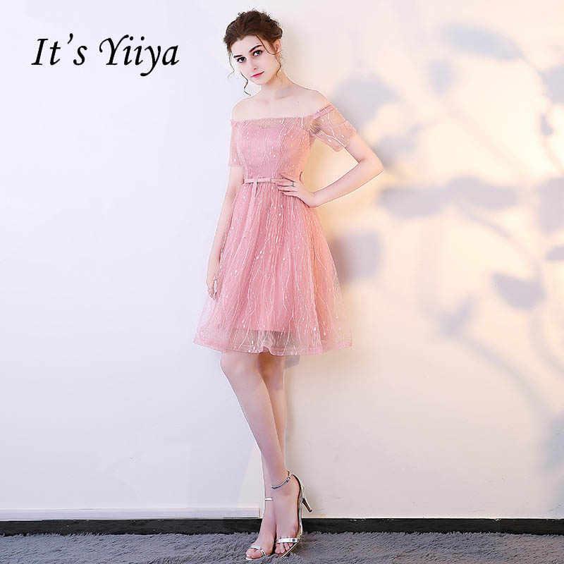 b6f8199ac1e40d1 Это YiiYa Новый розовый Иллюзия короткий рукав от плеча кружева коктейльное  платье по колено торжественное платье