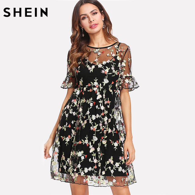 8884bfb49c SHEIN Summer Dresses Multicolor High Waist Short Sleeve Fit and Flare  Ruffle Cuff Embroidered Mesh 2