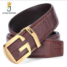 FAJARINA Top Quality 100% Real Cowhide Leather Retro Letter Pattern Solid Brass Slide Buckle Metal Belts for Men Jeans LUFJ680