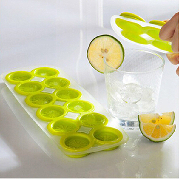 Creative 12-Cell Orange /Lemon Shaped Soft Silicone DIY Ice Cube Tray Ice Maker Jelly Pudding Mold - 3 pcs/set (Pink+Blue+Green)