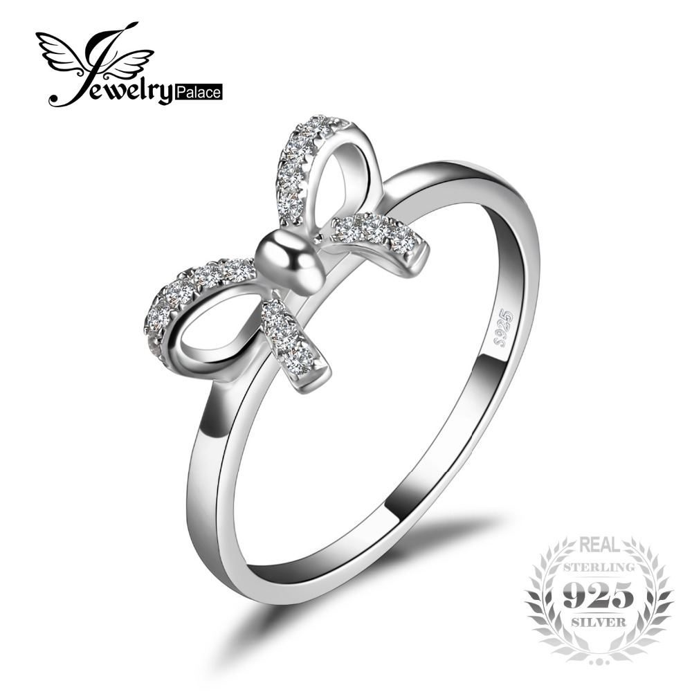 jewelrypalace bow cubic zirconia anniversary wedding ring for women pure 925 sterling silver fashion jewelry best girls gift