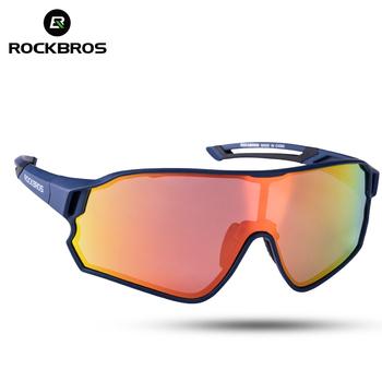 ROCKBROS jazda na rowerze spolaryzowane okulary sportowe rowerowe 100 UV400 odporność na uderzenia soczewki mężczyźni kobiety bieganie wspinaczka Glasse tanie i dobre opinie 142 mm Z tworzywa sztucznego Octan 55mm Unisex Polarized UV400 Niebieski 10134