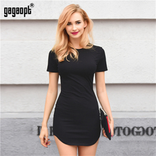Gagaopt Autumn/Summer Dresses Women 95%Cotton Black Solid Open Side Beach Dress Office Dresses Casual Jurken Robe Femme Vestidos