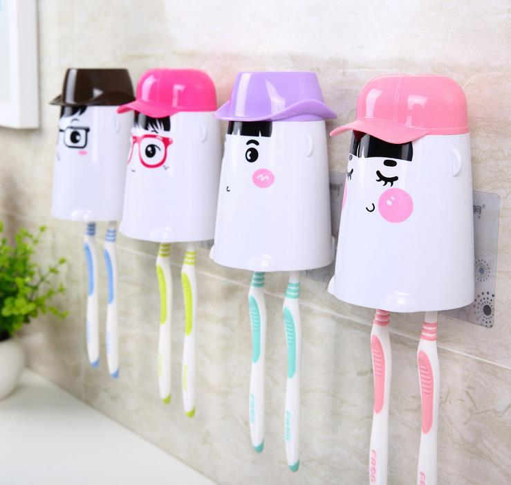 Novelty Households Bathroom Set Automatic Toothpaste Dispenser Creative Toothbrush Holder +Cups +Toothpaste Squeezer Wash Kit image