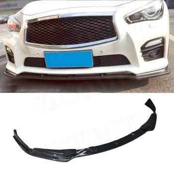 Carbon Fiber front bumper lip spoiler protector for Infiniti Q50 Q50S Sport Bumper 2014-2017 car styling FRP Unpainted