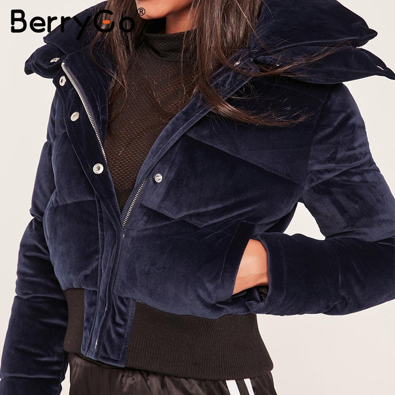 BerryGo Velvet cotton padded basic jacket coat Women warm wine red   parkas   jackets female 2018 autumn winter casual outerwear