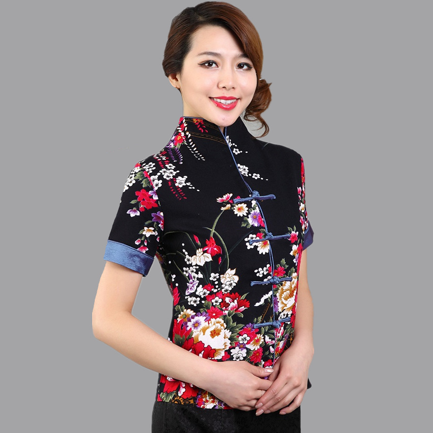 7605bd5646 Hot Sale Red Traditional Chinese Blouse Women Cotton Linen Shirt Top V Neck  Short Sleeves Clothing Size M L XL XXL XXXL Mnys01B-in Blouses   Shirts  from ...