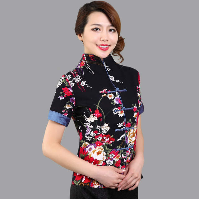 49126e086503 placeholder Hot Sale Red Traditional Chinese Blouse Women Cotton Linen  Shirt Top V-Neck Short Sleeves