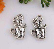 MIC 10 pcs Antique Silver zinc alloy Cup Charm pendants DIY Jewelry 18 x 13 mm  za429