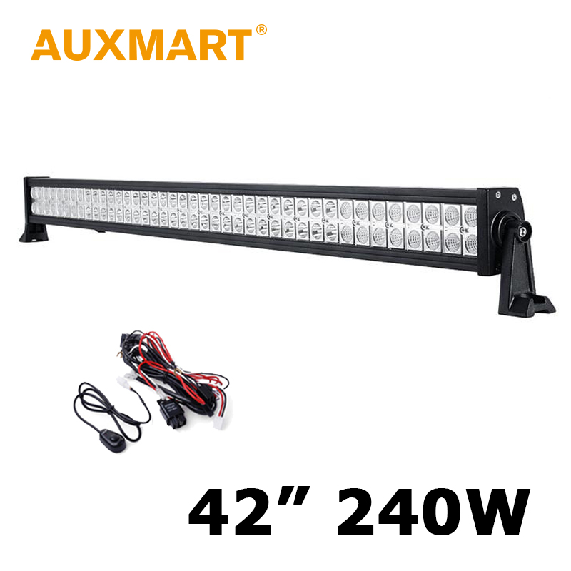 Auxmart 42 Inch CREE Chips 240W LED Light Bar Led Work Lights fit 12V 24V Offroad Car Truck Wagon ATV SUV Pickup 4WD 4x4 40000lm for philips curved 42 inch 400w ip67 work light combo dc12v 24v trucks wagon atv suv pickup 4wd 4x4 led bar offroad