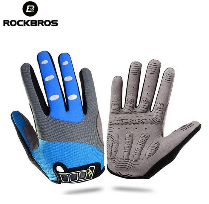 RockBros Cycling Anti shock Men Women Full Finger font b Gloves b font Bike Bicycle MTB