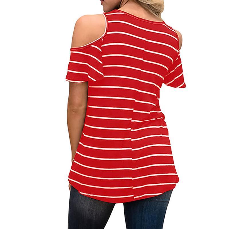 Women T-shirt 2018 New Fashion Dog Cat Paw Heart Cute Tumblr Kawaii O-neck Strapless Sleeve Striped Short Sleeve T-shirt