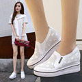 increased Women Genuine Leather Sneakers Sport Shoes White Female Hollow Tunnel For Heavy-Bottomed Platform Leisure Shoes